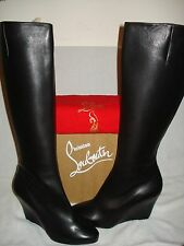 100% AUTHENTIC NEW WOMEN LOUBOUTIN BLACK LEATHER WEDGE KNEE HIGH BOOTS US 11.5
