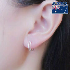 925 Sterling Silver Solid 10MM Piercing Round Plain Huggie Hoop Earrings Rock