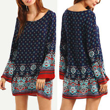 Retro Women's Boho Long Sleeve Floral Tunic Dress Loose Blouse Casual Cotton Top