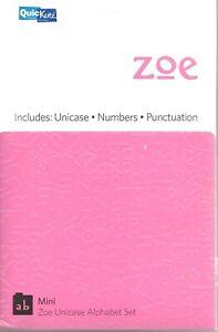 Quickutz Zoe Mini Unicase Alphabet Set Numbers Punctuation NEW