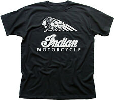 USA Retrò INDIAN MOTORCYCLES VINTAGE Harley chop Biker Nero T-shirt di Cotone 01533