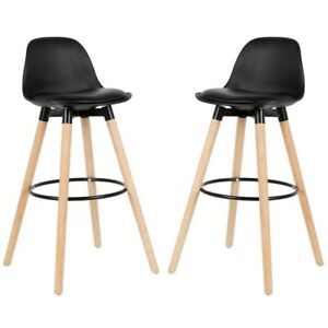 2Pcs/Set Lounge Chairs Bar Chair White Beech Wood Legs Surface Bar Stools office
