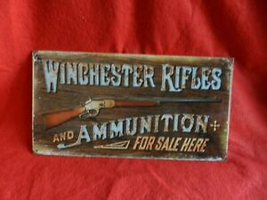 Winchester Rifles and Ammunition firearm Guns Ammo Hunting Rustic metal tin sign