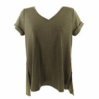 J Jill Pima Short Sleeve V Neck Tee Green Women's Small Petite