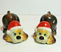 VTG Christmas Hound Dog Puppies Santa Hats Anthropomorphic Figures Beagle MCM