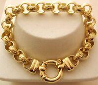 LARGE GENUINE 9K 9ct SOLID Gold PLAIN and PATTERN BELCHER Bracelet Bolt Ring
