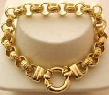 LARGE GENUINE  9K 9ct  SOLID Gold  PLAIN and PATTERN BELCHER  Bracelet