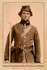 CIVIL WAR RP VINTAGE PHOTOGRAPH Unidentified Confederate w/Bayoneted Musket