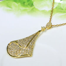 18K Yellow Gold Filled CZ Women Fashion Jewelry Luxury Necklace Pendant P2694