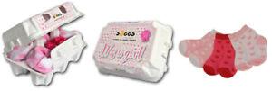 """SOGGS """"It´s a girl"""" 6 Paar rosa Motiv Baby-Socken im Eierkarton"""