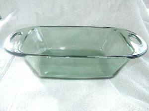 """ANCHOR HOCKING  5""""x9"""" 1.5 qt CLEAR GREEN GLASS LOAF BAKING PAN~Great Condition"""