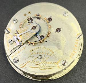 Hampden John Hancock Pocket Watch Movement 21 Jewel 18s Ticks And Stops F5048