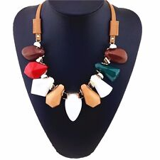 BRAND NEW BEAUTIFUL RESIN CRYSTAL STONES COLOUR FAUX LEATHER FASHION NECKLACE