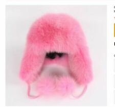 New Womens genuine Pink Fox Fur hat Cap Trapper Russian Style Warm New  Winter