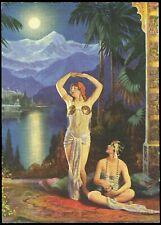 L.Goddard Harem Girls Fantasy Pin-up Print Art Deco Egyptian Flowers Of The East