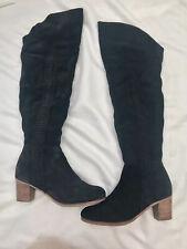 Matisse Black Suede Over The Knee Block Heel Boots Uk9 (us11m) Half Zip Slouchy