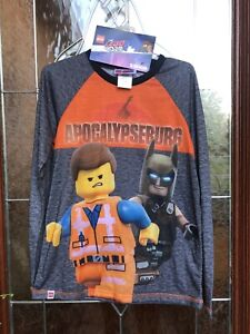 The Lego Movie 2 Boys Batman Sleepwear Pajama Set LS Shirt Pants Large L 10/12