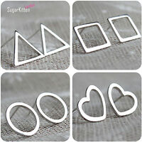 Polished 925 Sterling Silver Simple Stud Earrings Square Triangle Heart Round