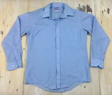 JCPENNEY - Vtg 60s Satin Touch Light Blue Disco Button-up Shirt, 16.5 34/35
