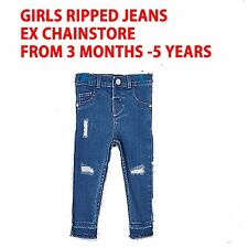 GIRLS RIPPED JEANS EX CHAINSTORE AGES 0-5 YEARS