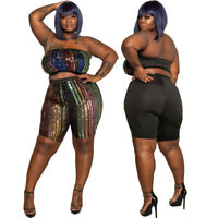 Womens Plus Size Clubwear Bandeau Tops Pants 2PCS Set Sequin Costume Bodycon Big