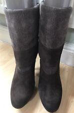 CALVIN KLEIN BROWN SUEDE LADIES HIGH HEEL PULL ON HEELED BOOTS UK 6.5 / EU42
