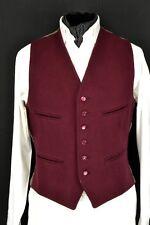 """Size 38"""" Dunn & Co Maroon Men's Waistcoat Wool Front Waistcoat Doeskin Vintage"""