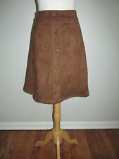 New Chaps Womens Size 8 Cinnamon Brown Faux Suede A-Line Stretch Skirt