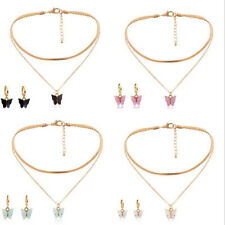 Fashion Women Butterfly Pendant Necklace Earrings Choker Clavicle Chain Jewelry