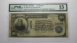 $10 1902 Ocala Florida FL National Currency Bank Note Bill Ch. #10578 F15 PMG