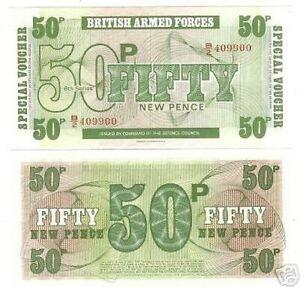 British Bras Forces 50 Pence Gem UNC 6TH Série Note ~ F/S