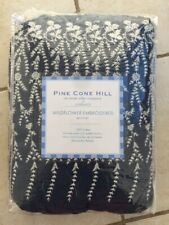 Pine Cone Hill BED SKIRT KING WILDFLOWER EMBROIDERED 100% COTTON NAVY