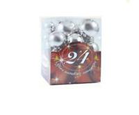 Addobbi Natalizi 24 sfere palline di Natale assortite argento decorazioni feste