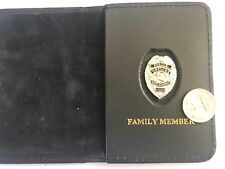 Police Officer Mini Badge SILVER Thin Blue Line Wallet (FAMILY MEMBER)