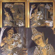 Coppia di Tangka. Antica seta dipinta a mano.