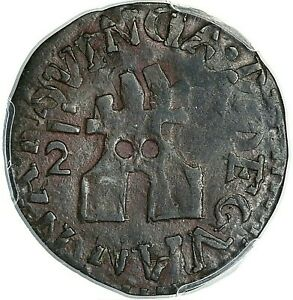 1814 GUAYANA FERDINAND VII COPPER 1/2 REAL PCGS VF30 BROWN KM-C41.2