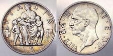 5 LIRE 1937 VITTORIO EMANUELE III REGNO D'ITALIA ARGENTO SILVER #6282