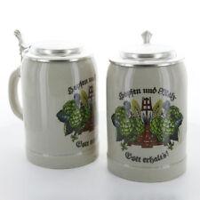 Bierkrug 0,5l Hopfen & Malz Zinndeckel Steinzeug graubraun Krug Bierhumpen WS