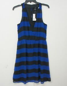 H&M womens dress size UK 10 Eur 36 new no tag knee length blue and black stripe