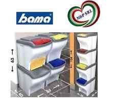 BAMA PATTUMIERA COMPONIBILE POKER SET 4 X 20 LT BIDONE RACCOLTA DIFFERENZIATA