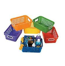 Set of 6 Tall Daycare Classroom Storage Baskets w/ Handles in Assorted Colors