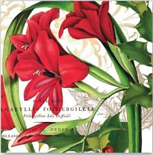 MDW-Two (2) Paper Cocktail Napkins for Crafts, Christmas, Red Amaryllis Flowers
