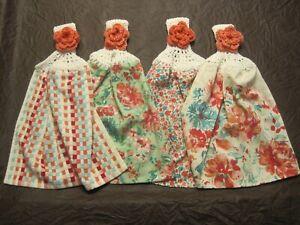 (4) Set Pioneer Woman Crochet Top Cotton Kitchen Towels Gorgeous Garden