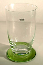 Krosno Poland Stemless Beverage Glass Clear/Green Footed Base 11 oz. New