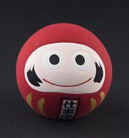 Estatuilla Daruma Smiley Rojo Amuleto de la Suerte Del Japón Cerámica Hecho Mano