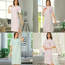 Ladies Nightdress Womens Short Sleeve Night Shirt Side Slit 100%Cotton Nightwear