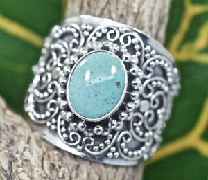 Handmade Solid Sterling Silver .925 Bali Swirl Style Oval Turquoise Dome Ring.