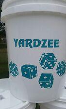Yardzee Outdoor 5 Cedar Wood Lawn Yard Dice Game Deluxe Set w/ Burnt Dots AQUA