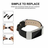 Watch Band Leather Replacement Wrist Wristband Black + Metal FOR Fitbit Charge 2