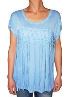 INC Women's Top Short Sleeve Scoop Neck Fringe Tee T-Shirt (Blue, XL)